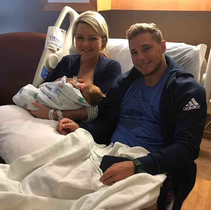 Cam Atkinson with his wife and new born baby