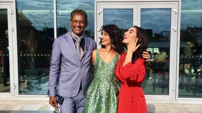 Adil Hussain with his family